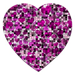 Hearts And Checks, Purple Jigsaw Puzzle (heart) by MoreColorsinLife