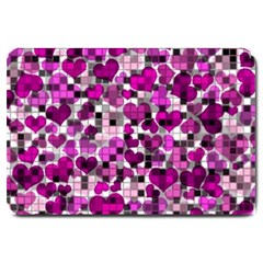 Hearts And Checks, Purple Large Doormat  by MoreColorsinLife