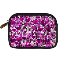 Hearts And Checks, Purple Digital Camera Cases by MoreColorsinLife