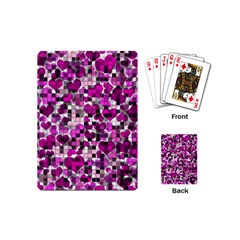 Hearts And Checks, Purple Playing Cards (mini)  by MoreColorsinLife
