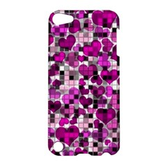 Hearts And Checks, Purple Apple Ipod Touch 5 Hardshell Case by MoreColorsinLife