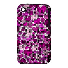 Hearts And Checks, Purple Apple Iphone 3g/3gs Hardshell Case (pc+silicone) by MoreColorsinLife