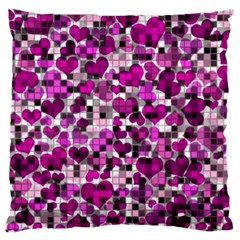 Hearts And Checks, Purple Large Flano Cushion Cases (two Sides)  by MoreColorsinLife