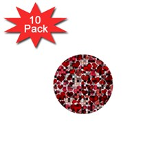 Hearts And Checks, Red 1  Mini Buttons (10 Pack)  by MoreColorsinLife