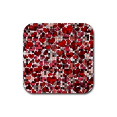 Hearts And Checks, Red Rubber Coaster (square)  by MoreColorsinLife