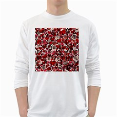 Hearts And Checks, Red White Long Sleeve T Shirts