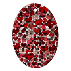 Hearts And Checks, Red Oval Ornament (two Sides) by MoreColorsinLife