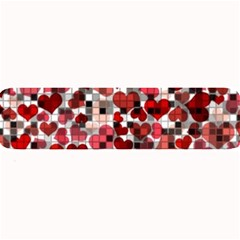 Hearts And Checks, Red Large Bar Mats by MoreColorsinLife