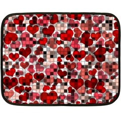 Hearts And Checks, Red Fleece Blanket (mini) by MoreColorsinLife