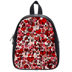 Hearts And Checks, Red School Bags (small)  by MoreColorsinLife