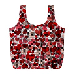 Hearts And Checks, Red Full Print Recycle Bags (l)  by MoreColorsinLife
