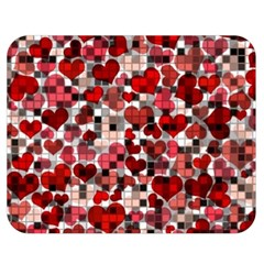 Hearts And Checks, Red Double Sided Flano Blanket (medium)  by MoreColorsinLife