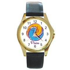 Pisces Star Sign Round Gold Metal Watches by theimagezone