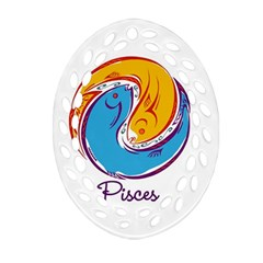 Pisces Star Sign Oval Filigree Ornament (2 Side)  by theimagezone