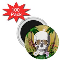Funny Skull With Sunglasses And Palm 1 75  Magnets (100 Pack)  by FantasyWorld7