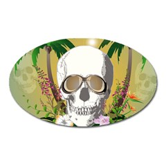 Funny Skull With Sunglasses And Palm Oval Magnet by FantasyWorld7