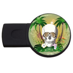 Funny Skull With Sunglasses And Palm Usb Flash Drive Round (4 Gb)  by FantasyWorld7