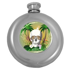Funny Skull With Sunglasses And Palm Round Hip Flask (5 Oz) by FantasyWorld7