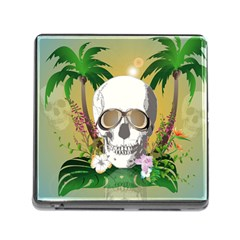 Funny Skull With Sunglasses And Palm Memory Card Reader (square) by FantasyWorld7