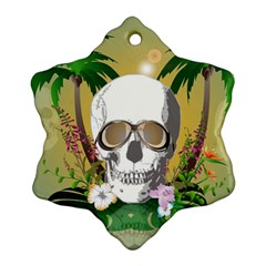 Funny Skull With Sunglasses And Palm Snowflake Ornament (2 Side) by FantasyWorld7