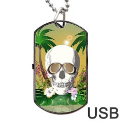 Funny Skull With Sunglasses And Palm Dog Tag Usb Flash (two Sides)  by FantasyWorld7