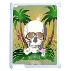 Funny Skull With Sunglasses And Palm Apple Ipad 2 Case (white) by FantasyWorld7