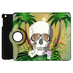 Funny Skull With Sunglasses And Palm Apple Ipad Mini Flip 360 Case by FantasyWorld7