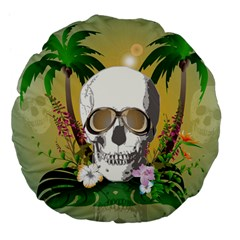 Funny Skull With Sunglasses And Palm Large 18  Premium Flano Round Cushions by FantasyWorld7