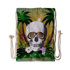 Funny Skull With Sunglasses And Palm Drawstring Bag (small) by FantasyWorld7