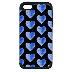 Heart Pattern Blue Apple Iphone 5 Hardshell Case (pc+silicone) by MoreColorsinLife