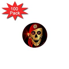 Funny, Happy Skull 1  Mini Magnets (100 Pack)  by FantasyWorld7
