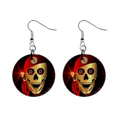 Funny, Happy Skull Mini Button Earrings by FantasyWorld7