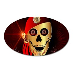 Funny, Happy Skull Oval Magnet by FantasyWorld7