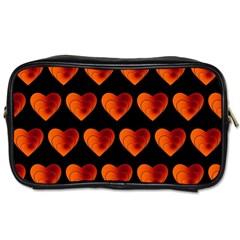 Heart Pattern Orange Toiletries Bags 2 Side by MoreColorsinLife