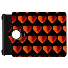 Heart Pattern Orange Kindle Fire Hd Flip 360 Case by MoreColorsinLife
