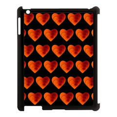 Heart Pattern Orange Apple Ipad 3/4 Case (black) by MoreColorsinLife