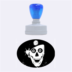 Funny, Happy Skull Rubber Oval Stamps by FantasyWorld7