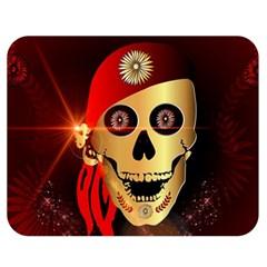 Funny, Happy Skull Double Sided Flano Blanket (medium)  by FantasyWorld7