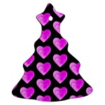 Heart Pattern Pink Ornament (Christmas Tree) Front