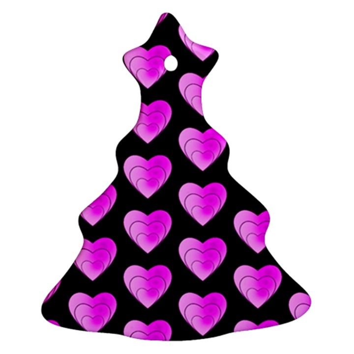 Heart Pattern Pink Ornament (Christmas Tree)