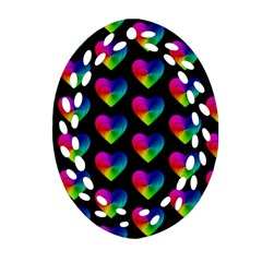 Heart Pattern Rainbow Ornament (oval Filigree)  by MoreColorsinLife