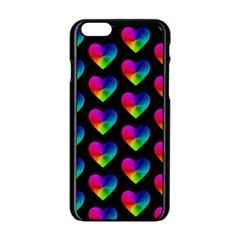 Heart Pattern Rainbow Apple Iphone 6 Black Enamel Case by MoreColorsinLife