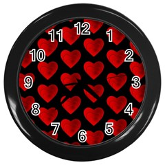 Heart Pattern Red Wall Clocks (black) by MoreColorsinLife