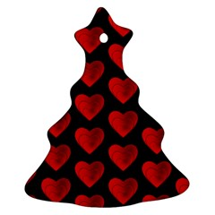 Heart Pattern Red Christmas Tree Ornament (2 Sides) by MoreColorsinLife
