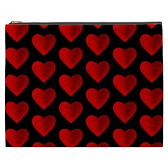 Heart Pattern Red Cosmetic Bag (xxxl)  by MoreColorsinLife