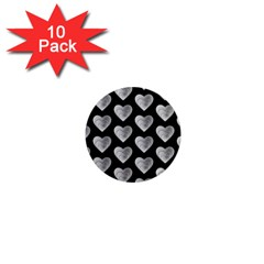 Heart Pattern Silver 1  Mini Magnet (10 Pack)  by MoreColorsinLife