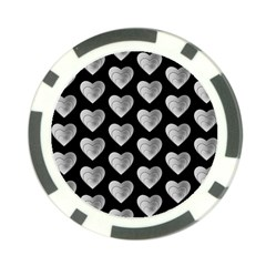 Heart Pattern Silver Poker Chip Card Guards (10 Pack)  by MoreColorsinLife