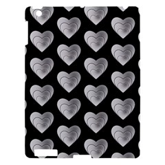 Heart Pattern Silver Apple iPad 3/4 Hardshell Case by MoreColorsinLife