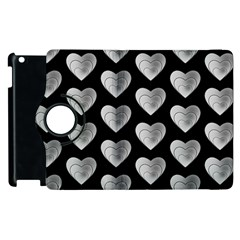 Heart Pattern Silver Apple Ipad 2 Flip 360 Case by MoreColorsinLife