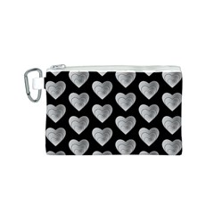 Heart Pattern Silver Canvas Cosmetic Bag (S) by MoreColorsinLife